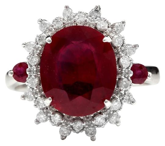 Other 7.75 Carats Natural Red Ruby and Diamond 14K Solid White Gold Ring Image 0