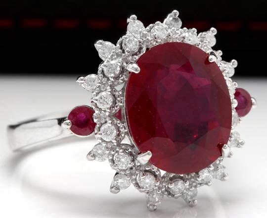 Other 7.75 Carats Natural Red Ruby and Diamond 14K Solid White Gold Ring Image 1
