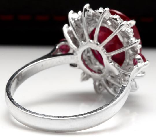 Other 7.75 Carats Natural Red Ruby and Diamond 14K Solid White Gold Ring Image 2
