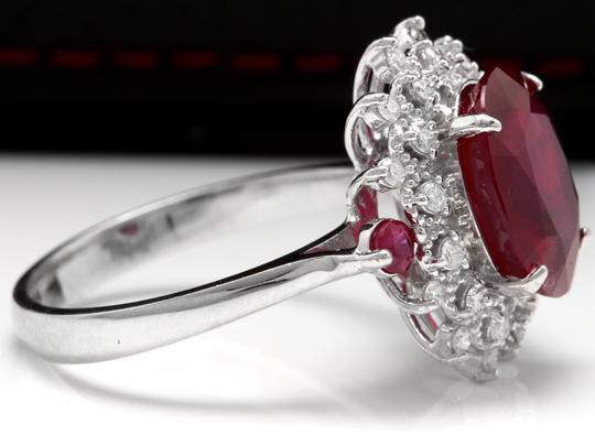 Other 7.75 Carats Natural Red Ruby and Diamond 14K Solid White Gold Ring Image 3
