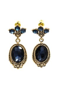 Ocean Fashion Classic style blue crystal pendant golden earrings