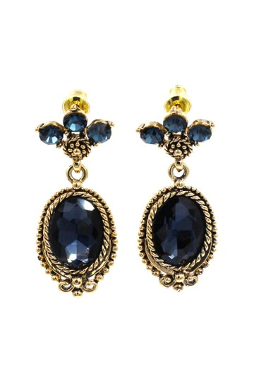 Ocean Fashion Classic style blue crystal pendant golden earrings Image 0