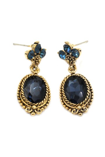 Ocean Fashion Classic style blue crystal pendant golden earrings Image 2
