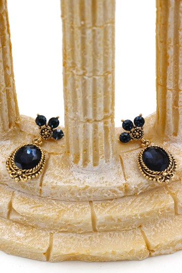 Ocean Fashion Classic style blue crystal pendant golden earrings Image 3