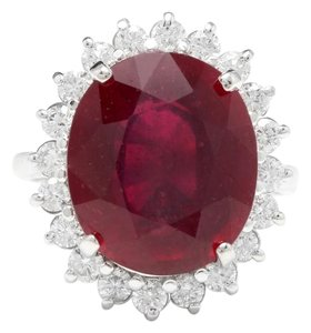 Other 14.05 Carats Red Ruby and Natural Diamond 14K Solid White Gold Ring