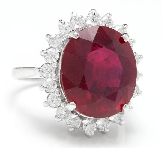Other 14.05 Carats Red Ruby and Natural Diamond 14K Solid White Gold Ring Image 1