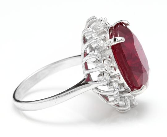 Other 14.05 Carats Red Ruby and Natural Diamond 14K Solid White Gold Ring Image 2