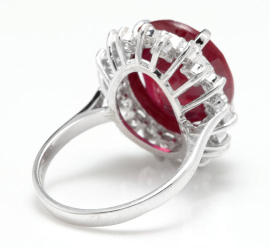 Other 14.05 Carats Red Ruby and Natural Diamond 14K Solid White Gold Ring Image 3
