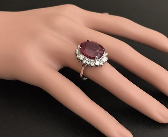 Other 14.05 Carats Red Ruby and Natural Diamond 14K Solid White Gold Ring Image 6