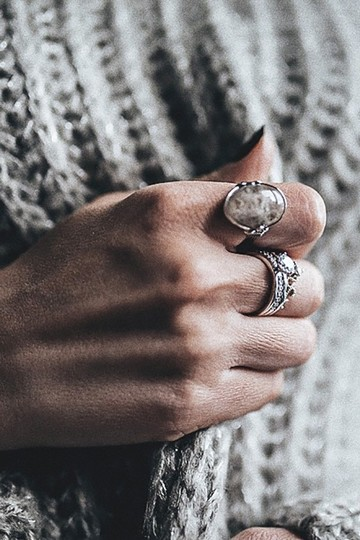 Ocean Fashion Fashion natural stone silver ring Image 8