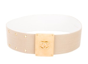 Chanel Tan canvas Chanel interlocking CC logo wide waist belt