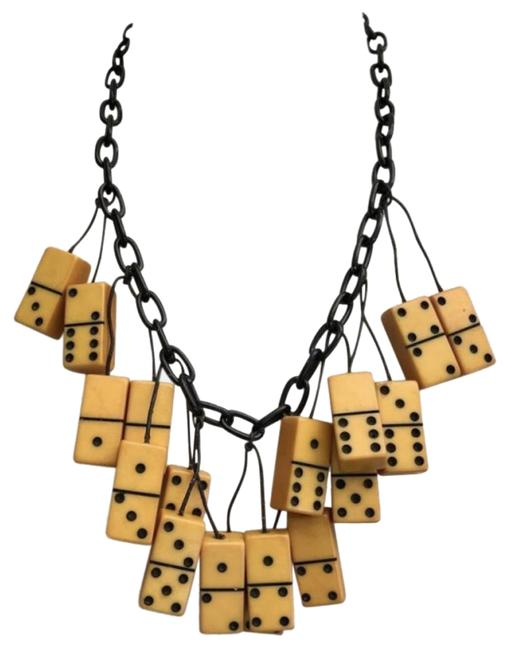 "Item - Black Amber Gold Yellow Bakelite Domino Pendant Dominos & 21"" Chain Necklace"