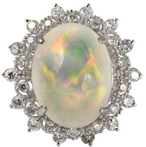 Other 6.73Ct Natural Ethiopian Opal and Diamond 14K Solid White Gold Ring