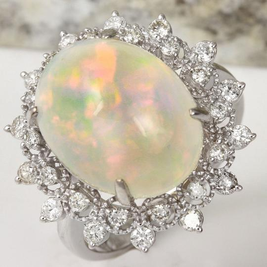 Other 6.73Ct Natural Ethiopian Opal and Diamond 14K Solid White Gold Ring Image 1