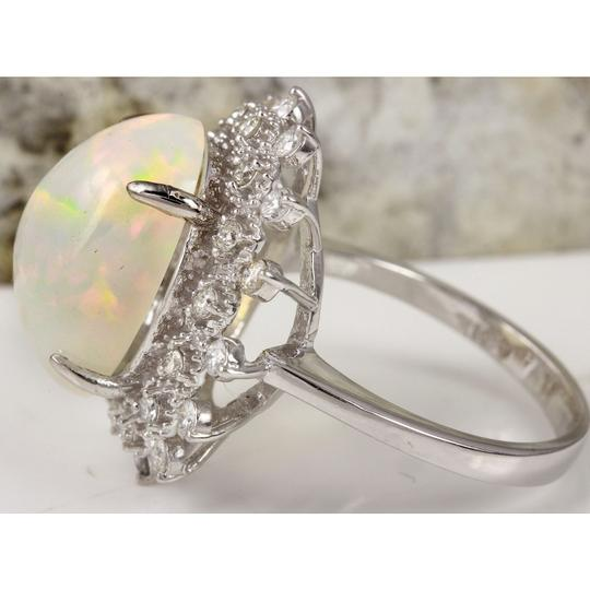 Other 6.73Ct Natural Ethiopian Opal and Diamond 14K Solid White Gold Ring Image 2