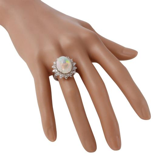 Other 6.73Ct Natural Ethiopian Opal and Diamond 14K Solid White Gold Ring Image 4