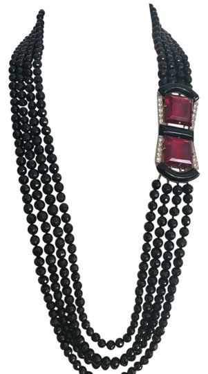 Preload https://img-static.tradesy.com/item/22168129/black-red-silver-jet-glass-bead-huge-ruby-and-rhinestone-buckle-necklace-0-1-540-540.jpg