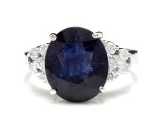 Other 9.60Ct Natural Blue Sapphire & Diamond 14K Solid White Gold Ring