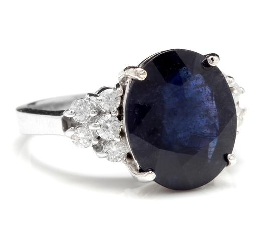 Other 9.60Ct Natural Blue Sapphire & Diamond 14K Solid White Gold Ring Image 1