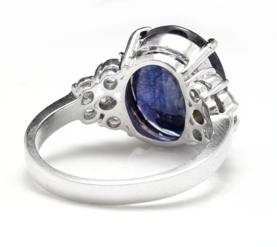 Other 9.60Ct Natural Blue Sapphire & Diamond 14K Solid White Gold Ring Image 3