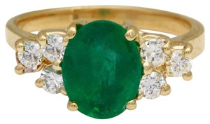Other 2.25Ct Natural Emerald & Diamond 14K Yellow Gold Ring