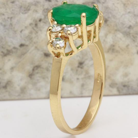 Other 2.25Ct Natural Emerald & Diamond 14K Yellow Gold Ring Image 3