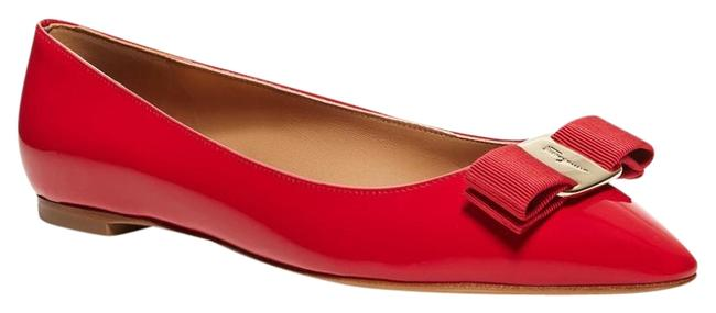 Item - Pamplona Red/Gold Nwob Emy Pointed Toe Bow Flats Size US 5.5 Regular (M, B)