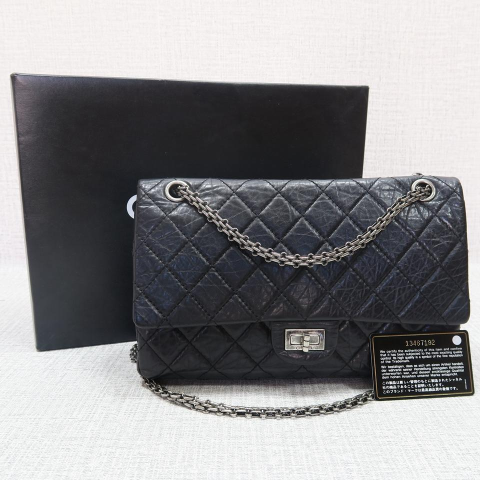 8f78309420b7 Chanel 2.55 Reissue Double Flap 226 Black Calfskin Shoulder Bag - Tradesy