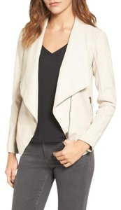 BB Dakota Faux Leather Draped Asymmetrical Bone Jacket