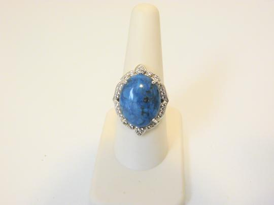 Colleen Lopez Colleen Lopez Turquoise and White Topaz Sterling Silver Ring 8 Image 1