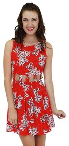 Sugarlips short dress Red Clear Cut Cut Outs Florals on Tradesy