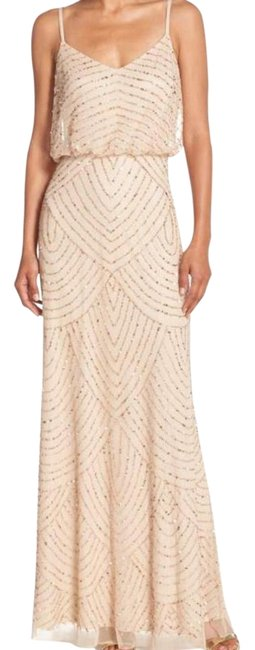 Item - Gold/Champagne Blouson Gown Bridesmaid Formal Long Casual Maxi Dress Size 12 (L)