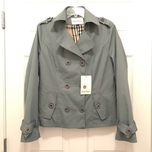 Max Mara Cotton Coat Double Breasted Designer Blue Jacket