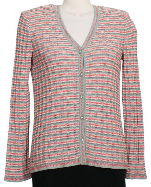Item - Ivory Pink Green Gray Striped Textured Knit Wool Blend Cardigan Size 6 (S)