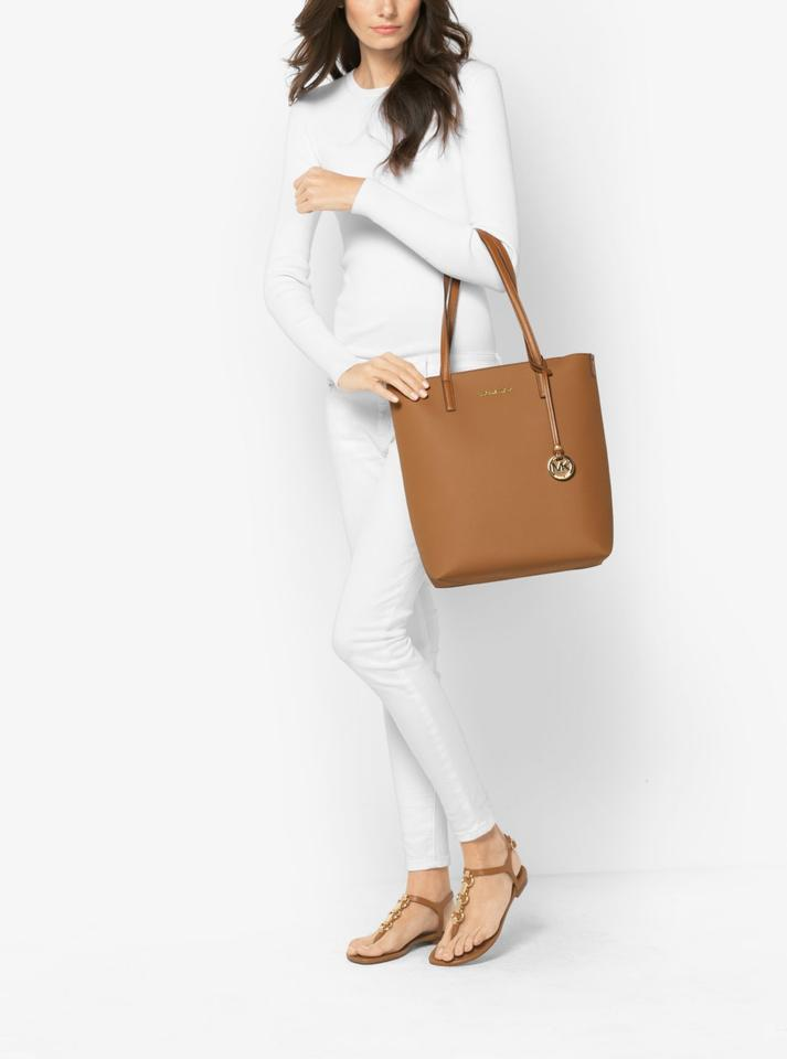 fb1d77293e99 Michael Kors Emry Saffiano Leather Satchel Tote in Acorn Oyster Image 8.  123456789