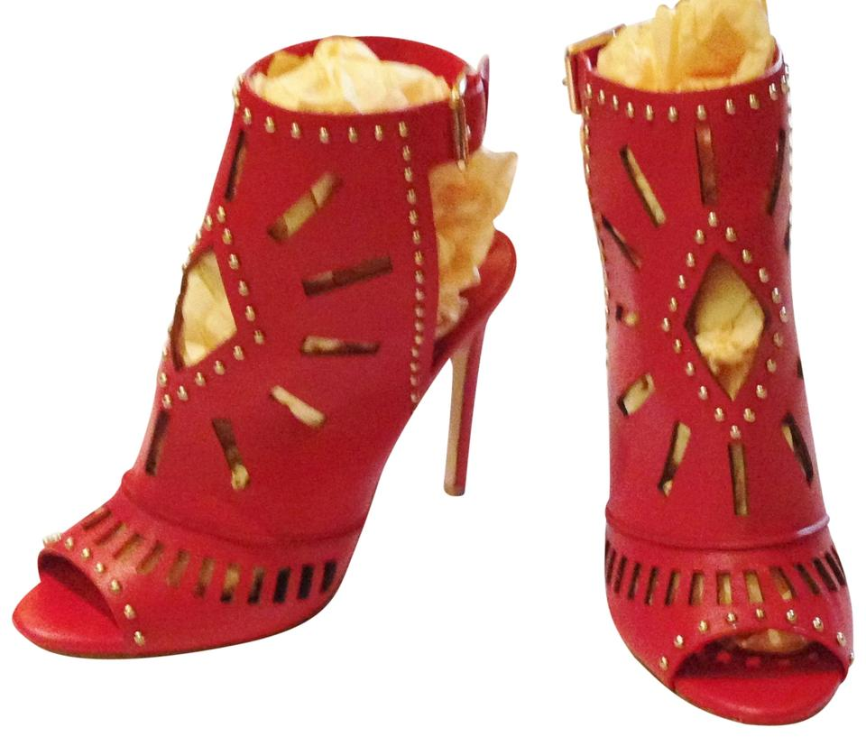 ALDO Red Laser Cut Out Embellished 8- 8- 8- Euro 38.5 Boots/Booties 92b6ce