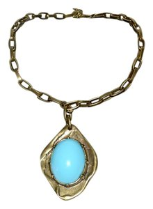 Gerard Yosca Gerald Yosca Amazonite Pendant Necklace Antique Brass Signed