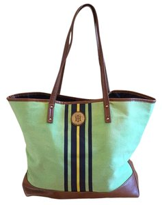 Tommy Hilfiger Tote in green with navy and yellow stripe on front