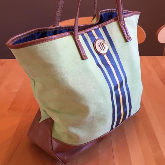 Tommy Hilfiger Tote in green with navy and yellow stripe on front Image 1