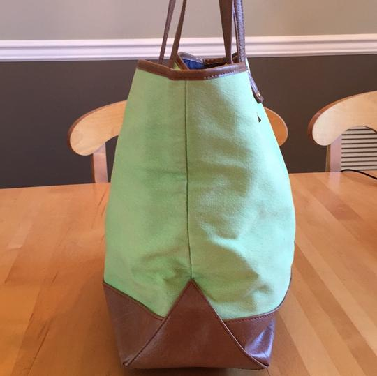 Tommy Hilfiger Tote in green with navy and yellow stripe on front Image 2