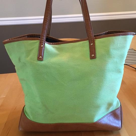 Tommy Hilfiger Tote in green with navy and yellow stripe on front Image 3