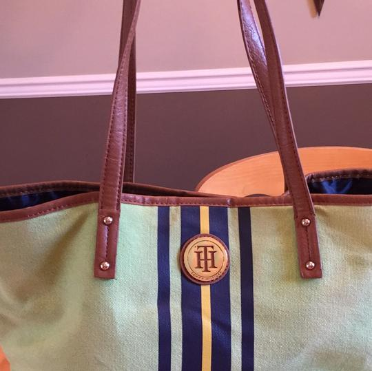 Tommy Hilfiger Tote in green with navy and yellow stripe on front Image 8