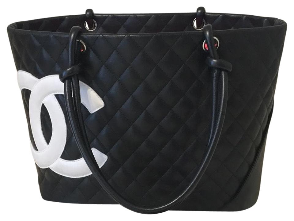 68fbc7388616 Chanel Cambon Off Code Shop100 Large with White Cc Black Lambskin Leather  Tote