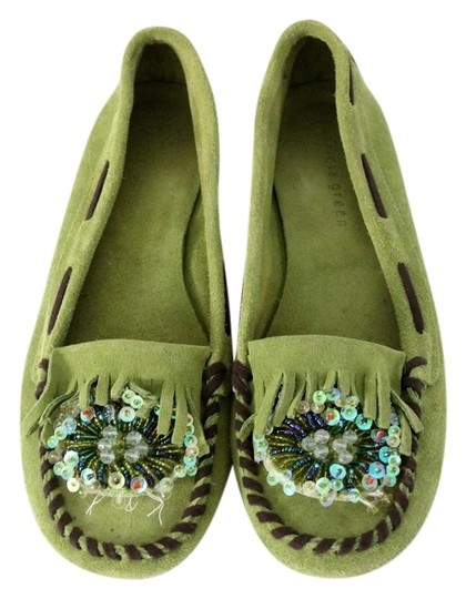 Patricia Green Moccasins Sequins Beaded Green Flats