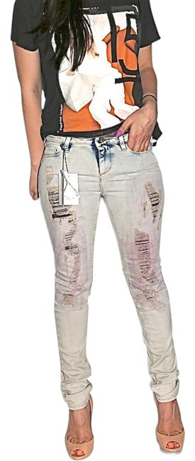 Item - Gray Medium Wash Terry Distressed Skinny Jeans Size 28 (4, S)