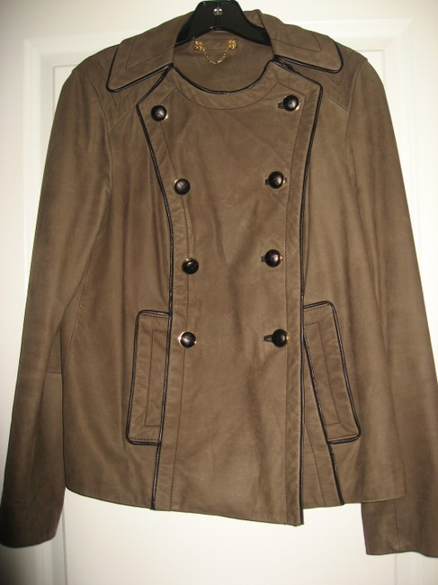 Tory Burch Lateen S Coconut/Brown Leather Jacket Image 4