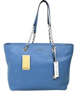 Michael Kors Leather Hang Tag Chain Handle Tote in Blue