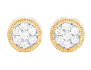 Jewelry Unlimited 10K Yellow Gold 3D Fluted Round Cluster Diamond Stud 0.65 Ct 8MM