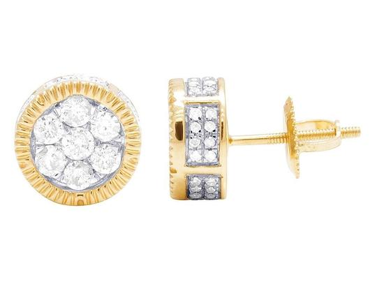 Jewelry Unlimited 10K Yellow Gold 3D Fluted Round Cluster Diamond Stud 0.65 Ct 8MM Image 3