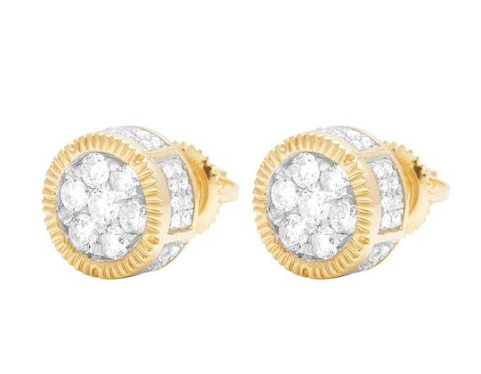 Jewelry Unlimited 10K Yellow Gold 3D Fluted Round Cluster Diamond Stud 0.65 Ct 8MM Image 4